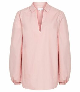 Reiss Veronica - Long Sleeved Blouse in Pale Pink, Womens, Size 14