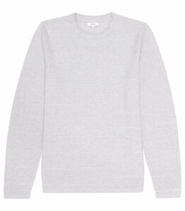 Reiss Bowmont - Ribbed Crew Neck Jumper in Soft Grey Melange, Mens, Size XXL