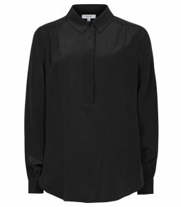 Reiss Nadina - Silk Shirt in Black, Womens, Size 14