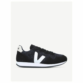SDU leather and speckled-knit trainers