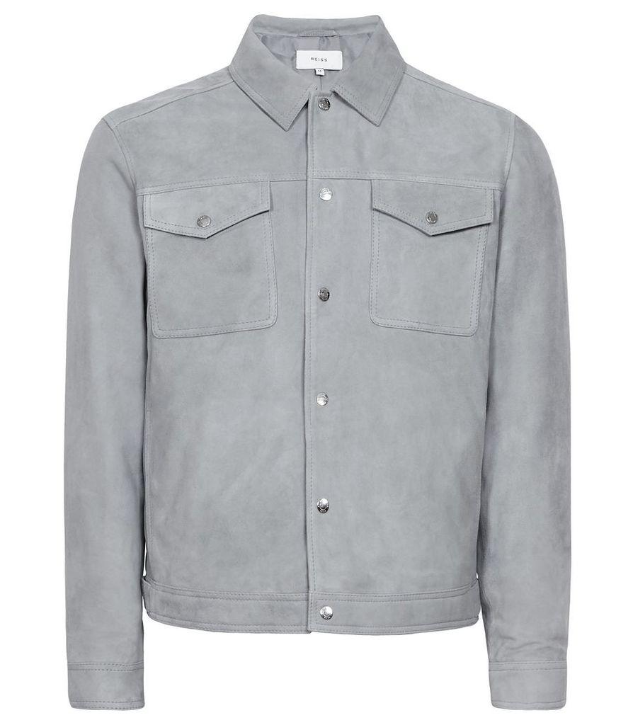 Reiss Jagger - Suede Trucker Jacket in Soft Blue, Mens, Size XXL