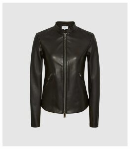 Reiss Aries - Leather Jacket in Black, Womens, Size 14