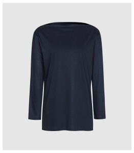 Reiss Marilyn - Straight Neck Top in Navy, Womens, Size XL