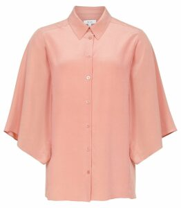 Reiss Guila - Silk Wide Sleeved Shirt in Pink, Womens, Size 14