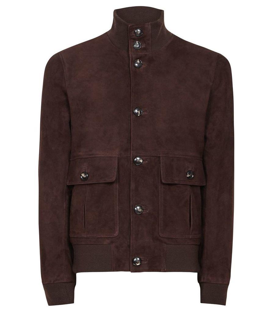 Reiss Espresso - Button Through Suede Jacket in Dark Brown, Mens, Size XS