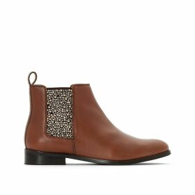 Faux Leather Chelsea Ankle Boots with Studded Elastic