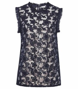 Reiss Marina - Sleeveless Lace Top in Navy, Womens, Size 14