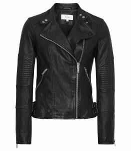 Reiss Tay - Leather Biker Jacket in Black, Womens, Size 14