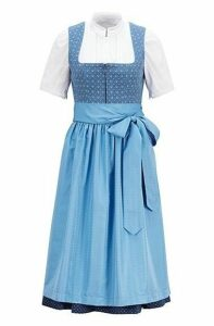 Patterned dirndl with lace-trimmed blouse