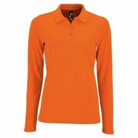 Sols  WomensLadies Perfect Long Sleeve Pique Polo Shirt  women's Polo shirt in Orange