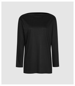 Reiss Marilyn - Straight Neck Top in Black, Womens, Size XL