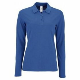Sols  WomensLadies Perfect Long Sleeve Pique Polo Shirt  women's Polo shirt in Blue