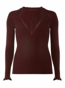 Womens **Tall Burgundy Rib Lettuce Jumper- Red, Red