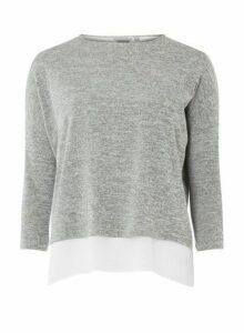 Womens Petite Grey Wrap Back Top, Grey