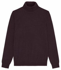 Reiss Caine - Merino Wool Rollneck in Bordeaux, Mens, Size XXL