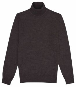 Reiss Caine - Merino Wool Rollneck in Chocolate, Mens, Size XXL