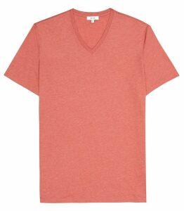 Reiss Dayton Marl - V-neck T-shirt in Burnt Coral, Mens, Size XXL
