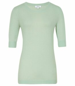 Reiss Amelia - Wool Blend  Jumper in Soft Green, Womens, Size XXL