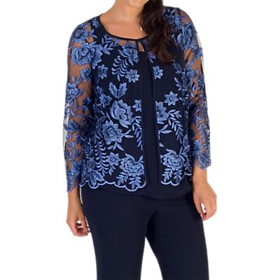 Chesca Embroidered Mesh Jacket, Iris/Navy