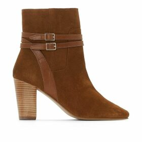 High-Heeled Leather Ankle Boots