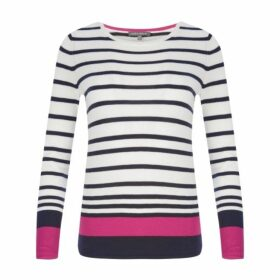 Navy Long Sleeve Stripe Border Jumper