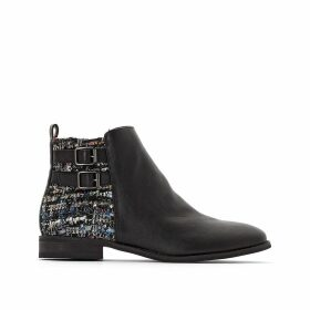 Dual Fabric Ankle Boots with Double Buckles