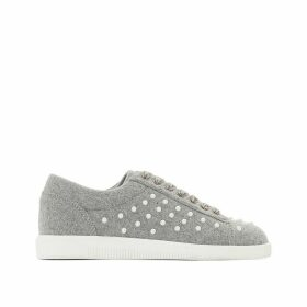 Beaded Canvas Trainers with Velour Laces