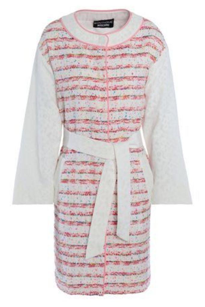 Boutique Moschino Woman Lace-paneled Tweet Jacket White Size 38