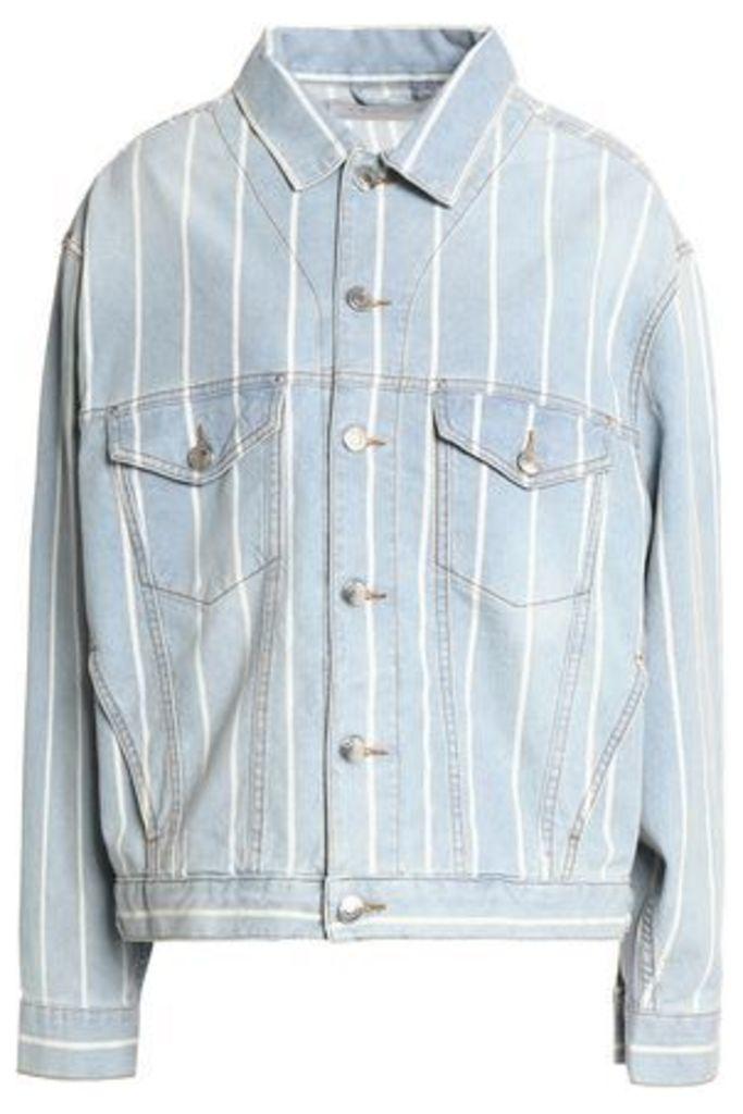 Iro Woman Faded Pinstriped Denim Jacket Light Denim Size 40