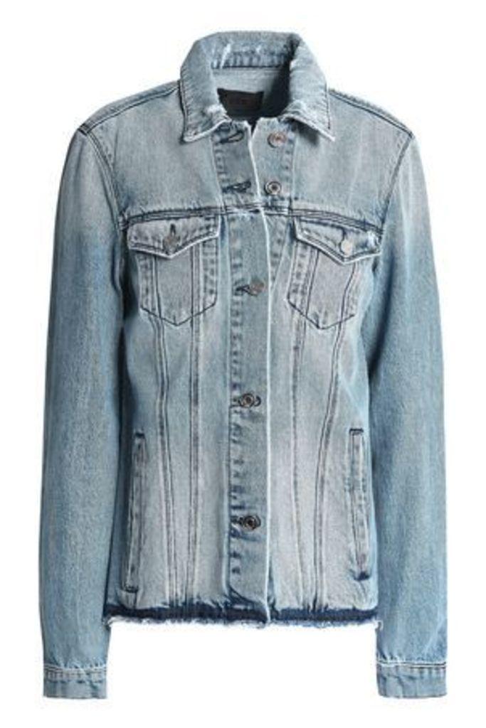 Rta Woman Distressed Denim Jacket Light Denim Size S
