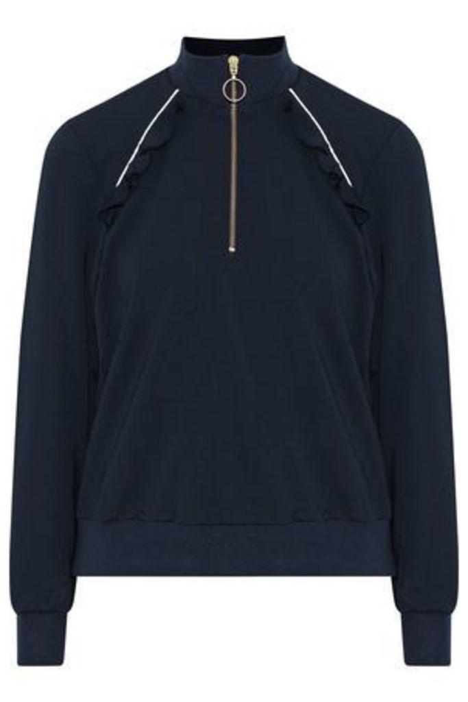 Baum Und Pferdgarten Woman Janean Ruffle-trimmed Stretch-knit Jacket Midnight Blue Size XL