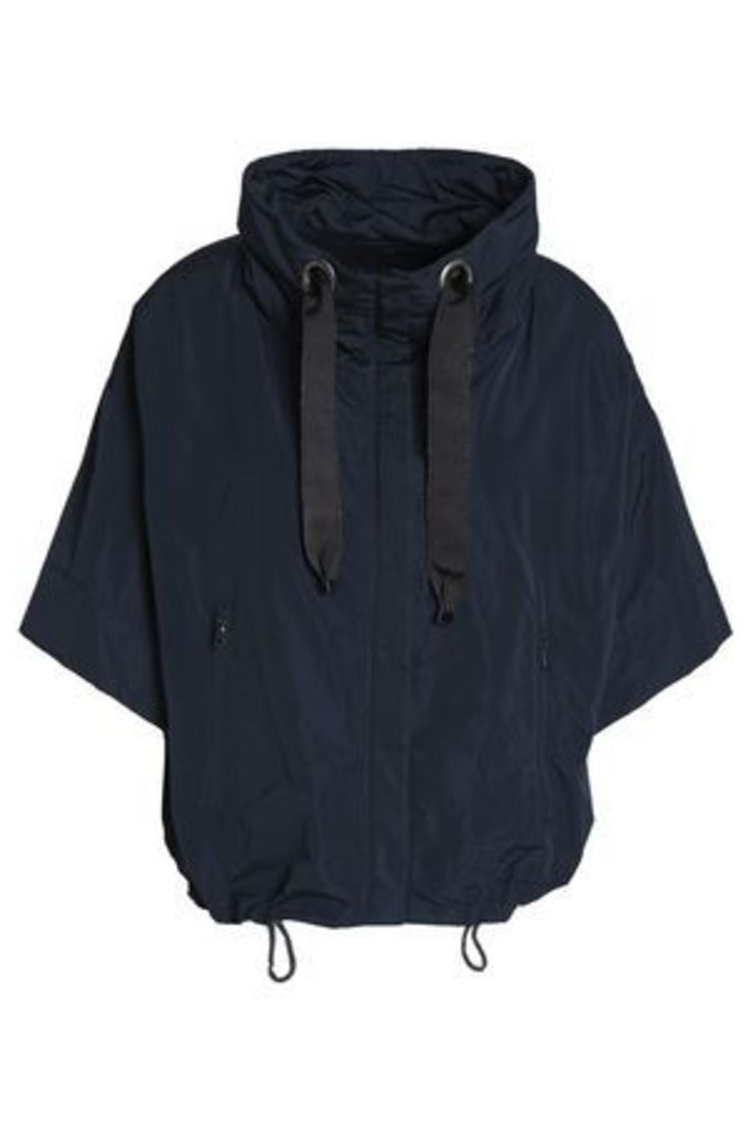 Brunello Cucinelli Woman Grosgrain-trimmed Shell Hooded Jacket Midnight Blue Size 42