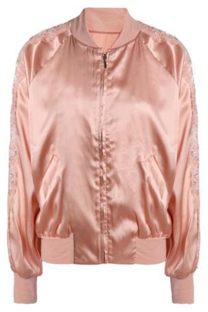 I.d. Sarrieri Woman Macaroon Delights Lace-trimmed Silk-blend Satin Jacket Rose Gold Size 3