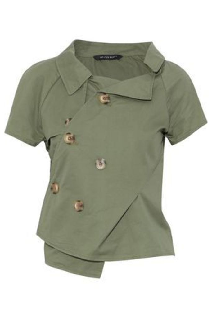 W118 By Walter Baker Woman Liana One-shoulder Cotton-twill Jacket Army Green Size XS