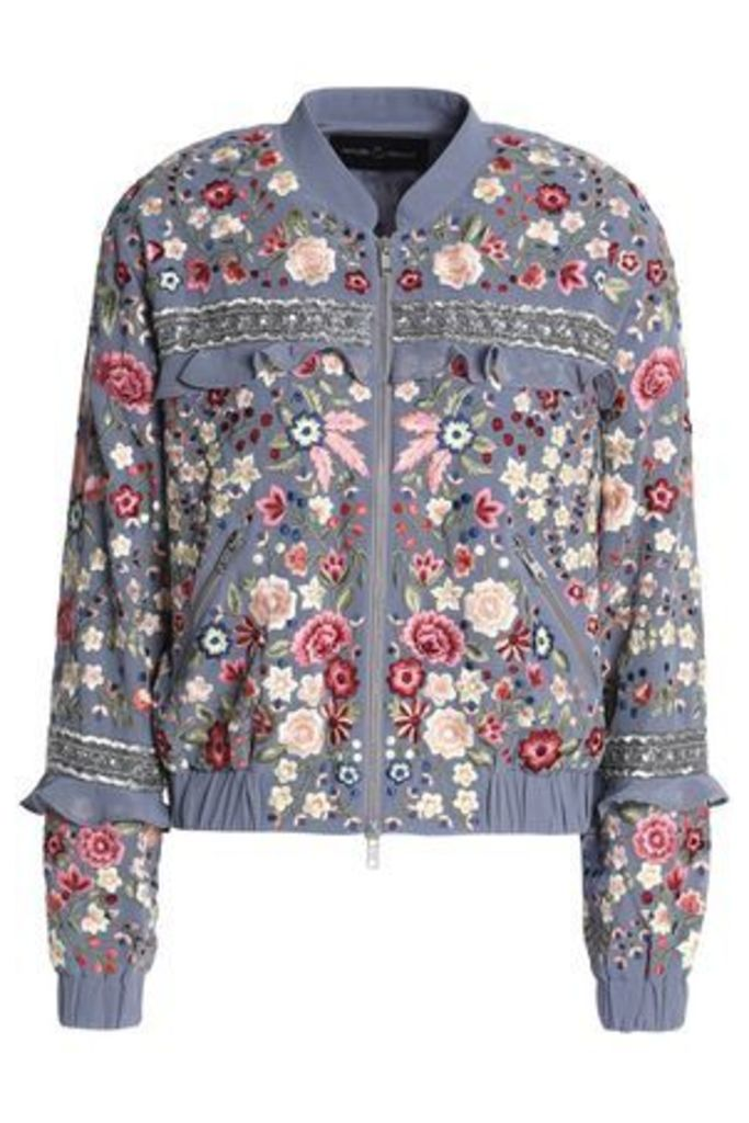 Needle & Thread Woman Ruffle-trimmed Embroidered Crepe Bomber Jacket Azure Size 12
