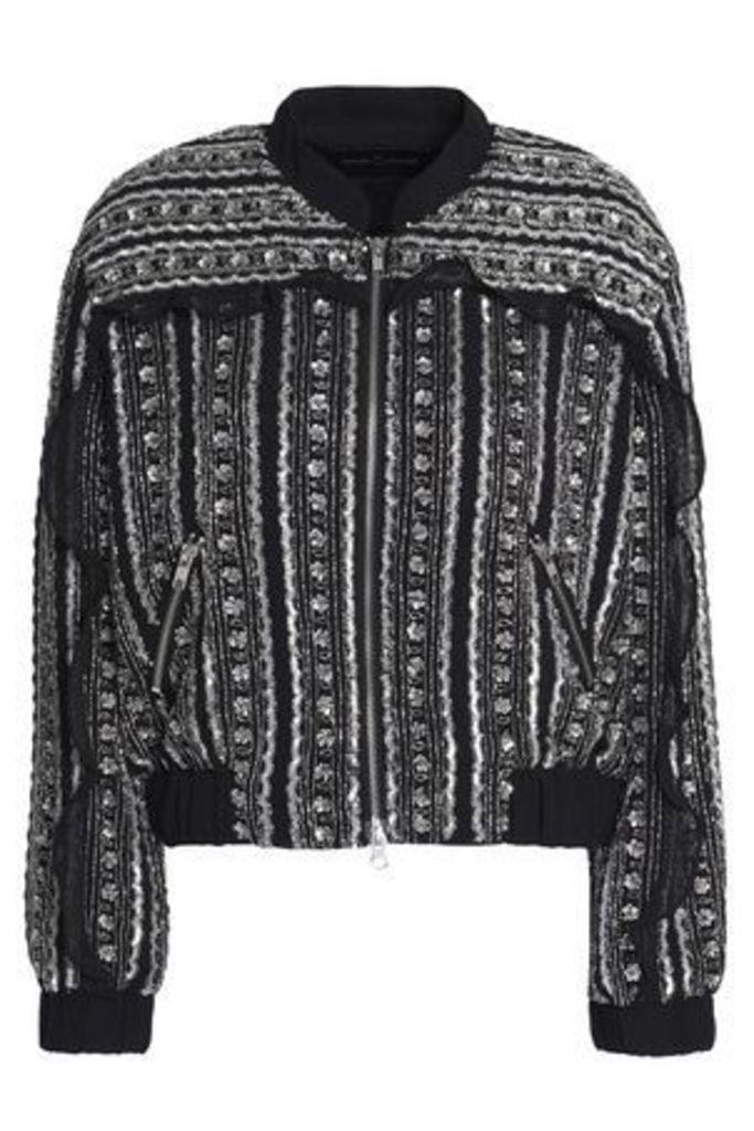 Needle & Thread Woman Ruffle-trimmed Embellished Chiffon Bomber Jacket Black Size 14