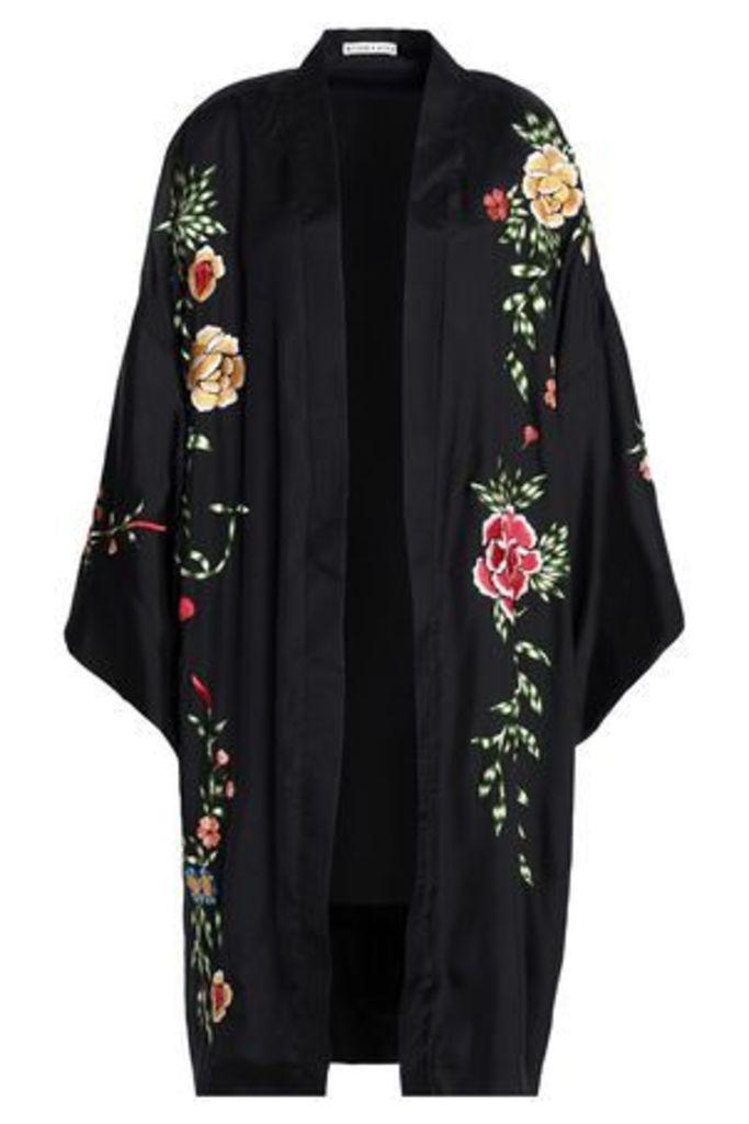 Alice+olivia Woman Embroidered Satin-crepe Kimono Black Size M/L