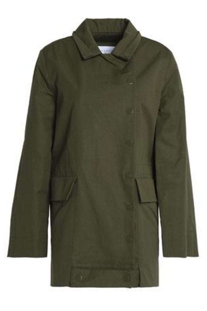 Sandro Woman Embroidered Cotton Jacket Army Green Size 3