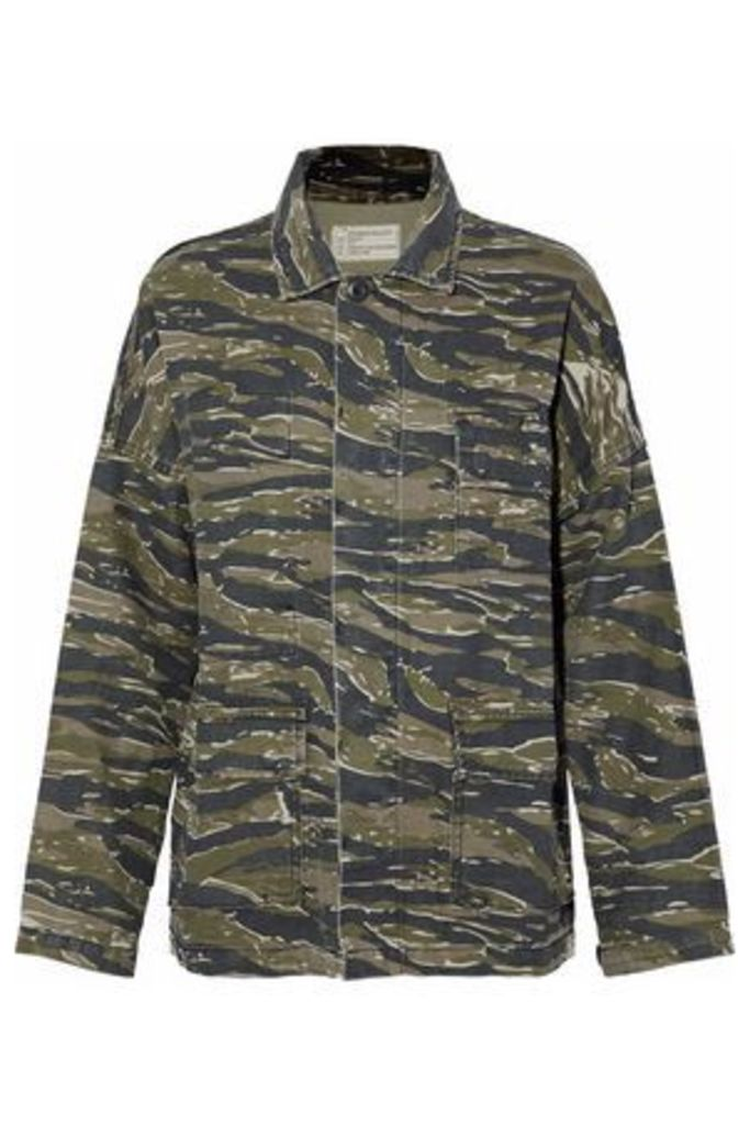 Current/elliott Woman Printed Cotton And Linen-blend Jacket Army Green Size 3