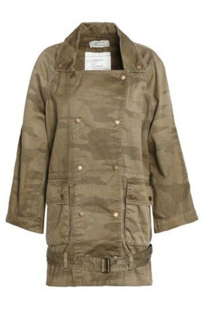 Current/elliott Woman Printed Cotton-gabardine Jacket Army Green Size 3