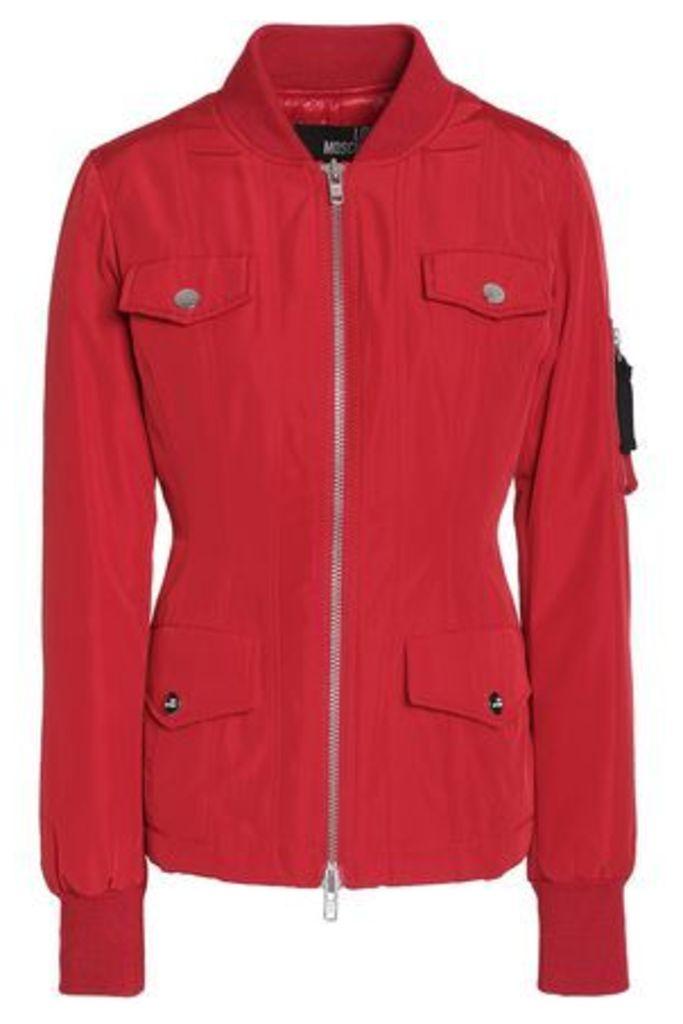 Love Moschino Woman Paneled Shell Bomber Jacket Red Size 42