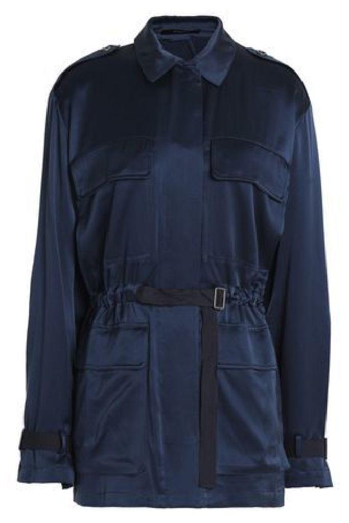 Theory Woman Silk-satin Jacket Royal Blue Size M
