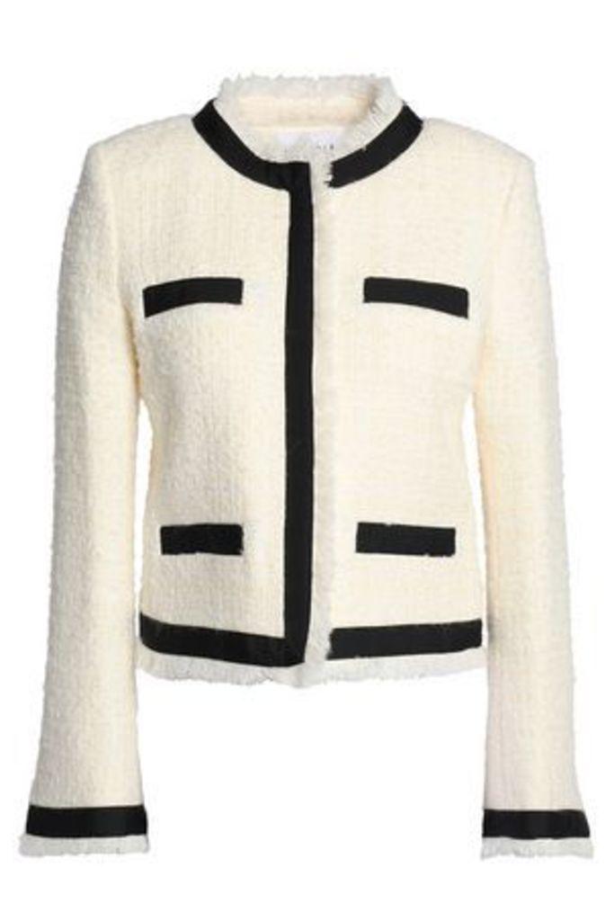 Claudie Pierlot Woman Frayed Bouclé-tweed Jacket Ecru Size 40