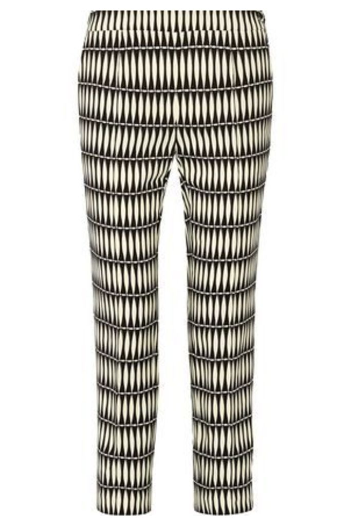 Lanvin Woman Cropped Printed Crepe Straight-leg Pants Black Size 42