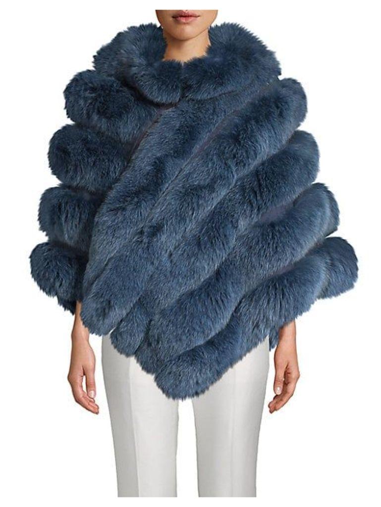 Fox Fur Zip Poncho
