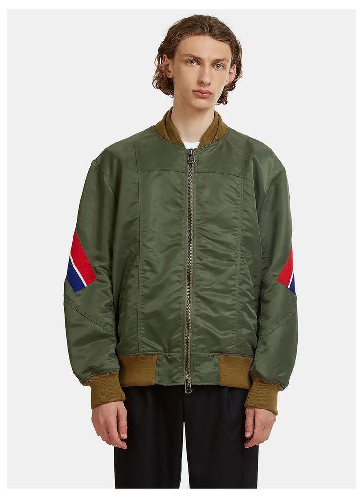 Facetasm Diagonal Striped Rib Bomber Jacket in Khaki size JPN - 05