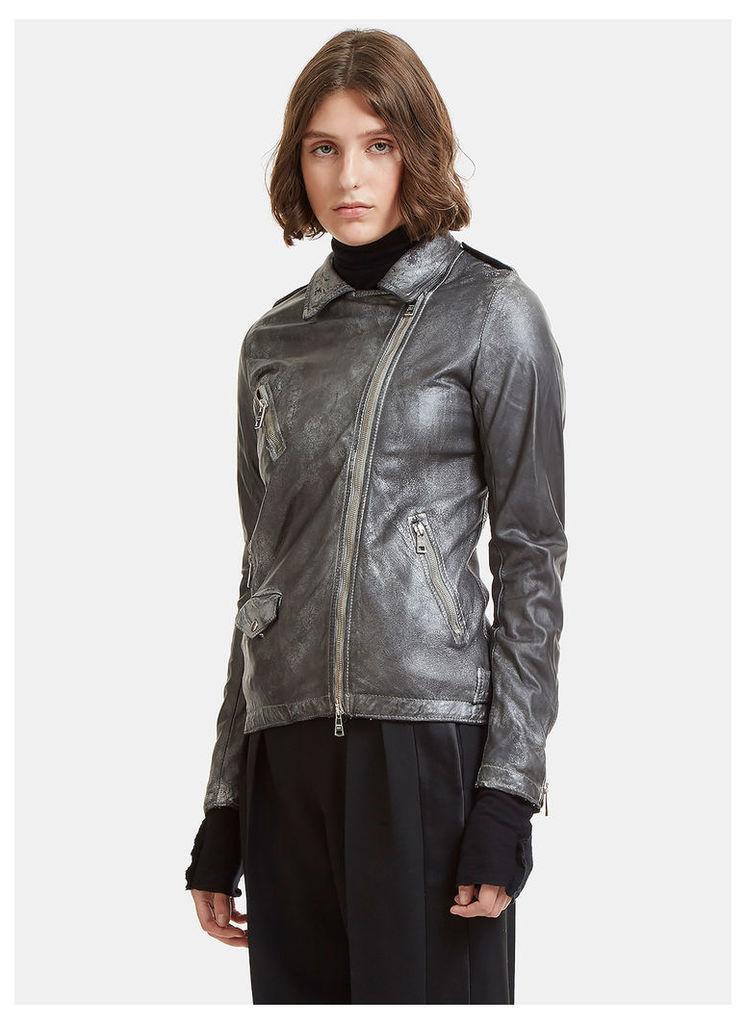 Giorgio Brato Perfecto Leather Jacket in Silver size IT - 40