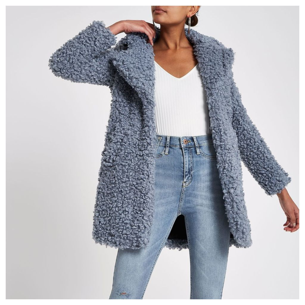 Womens Blue shearling fur longline coat