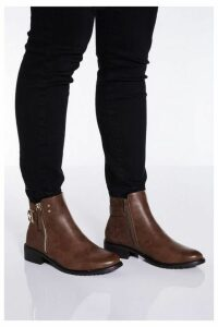 Quiz Chocolate Buckle Detail Ankle Boots