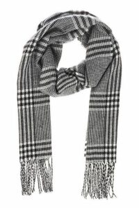 Quiz Black And White Check Knit Scarf